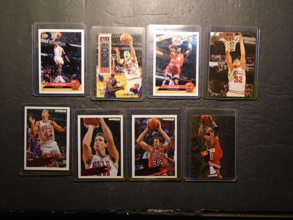 8 Chicago Bulls Basketball Cards Michael Jordan; Will Perdue; Horace Grant;