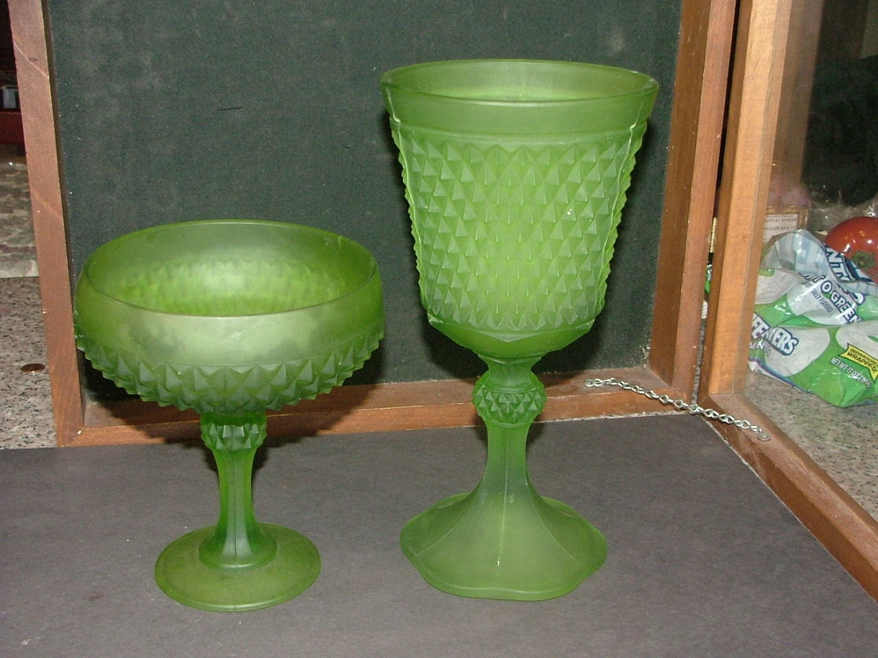 2  Indiana Glass Frosted Lime Green Diamong Point Compote& Candy Dish